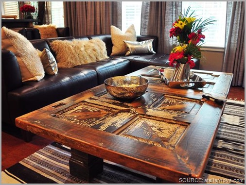 A beautiful old door becomes a stunning coffee table. CLICK to enlarge image.