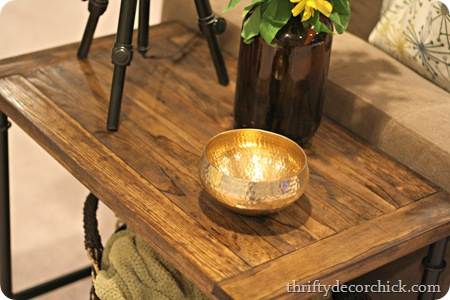 DIY wood and metal industrial side table