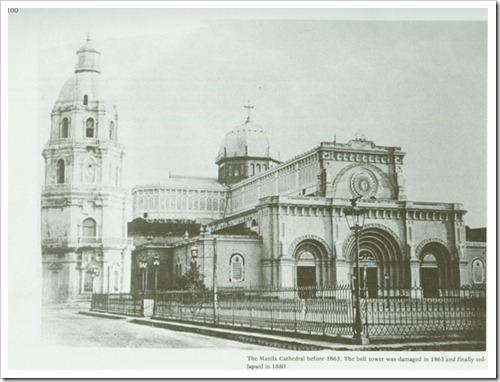 The Manila Cathedral before 1863. The bell tower was damaged in 1863 and finally collapsed in 1880.