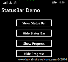 How to show ProgressIndicator in StatusBar of Windows Phone 8.1? (www.kunal-chowdhury.com)