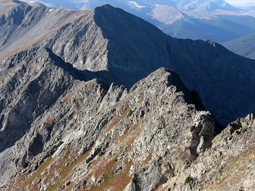 The gnarly ridge traverse between Peak 2 and 3.