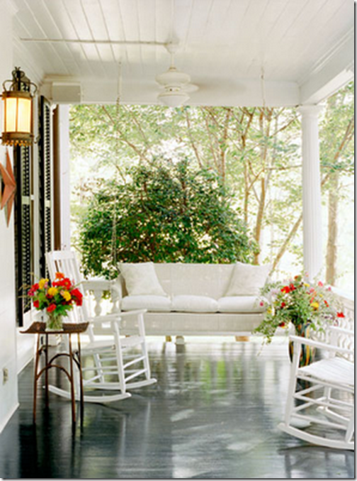 front porch swing_white black painted floor rocking chair summer outdoors_evan sklar photographer