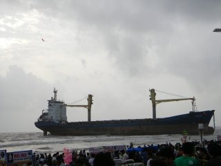Ship MV Wisdom stranded on Juhu beach in Mumbai [Bombay], India