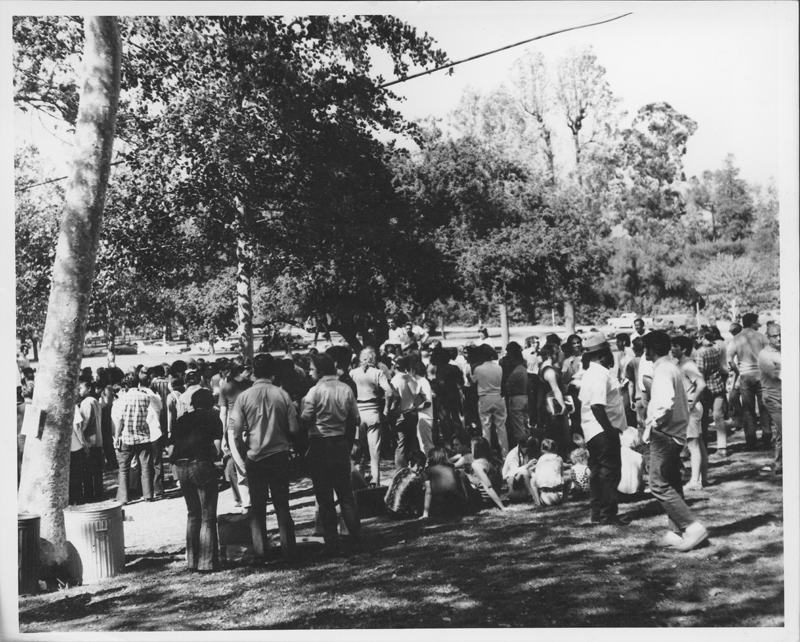 Gathering at the Gay-In at Griffith Park. April 5, 1970.