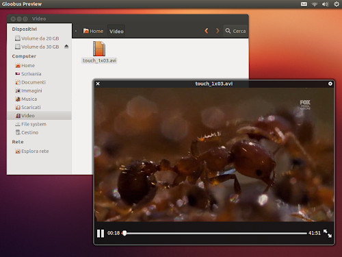 Gloobus Preview su Ubuntu 12.10 - video