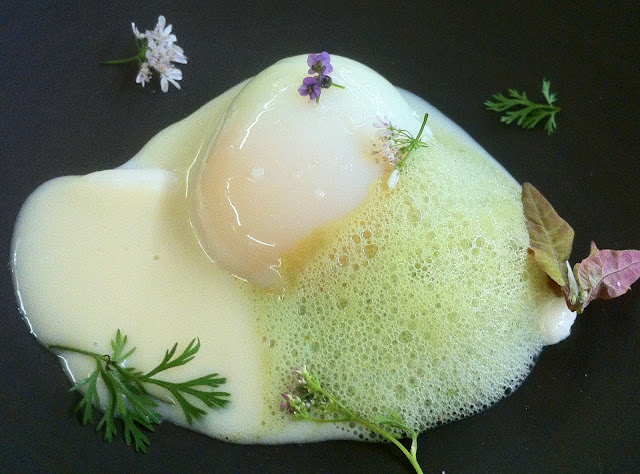 Egg with Fresh Almonds, Garlic Cream, Thyme, Lemon Verbena