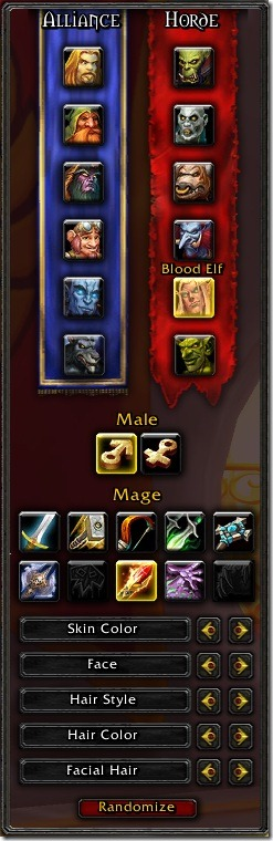 World of Warcraft Character Customization