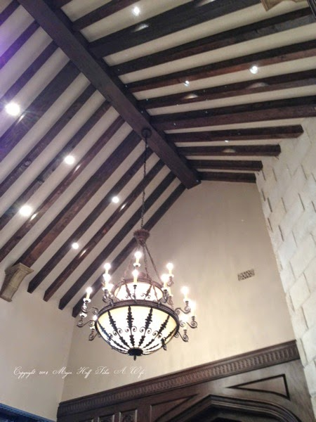 Living room arched ceiling with amazing light fixture