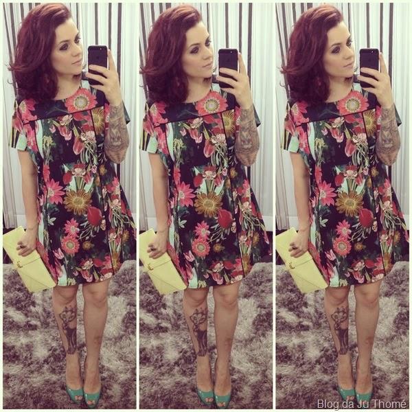 look vestido floral e sapato verde (1)
