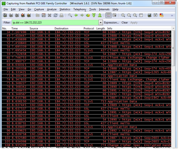 ASafaWeb TLS traffic viewed in Wireshark