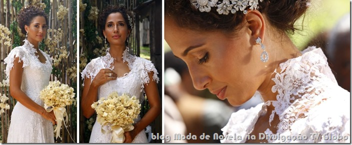 Vestido de noiva da Isabel no último capítulo da novela Lado a Lado