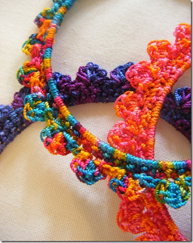 variegated crochet bangles