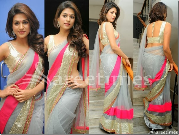 Shraddha_Das_Grey_Net_Saree
