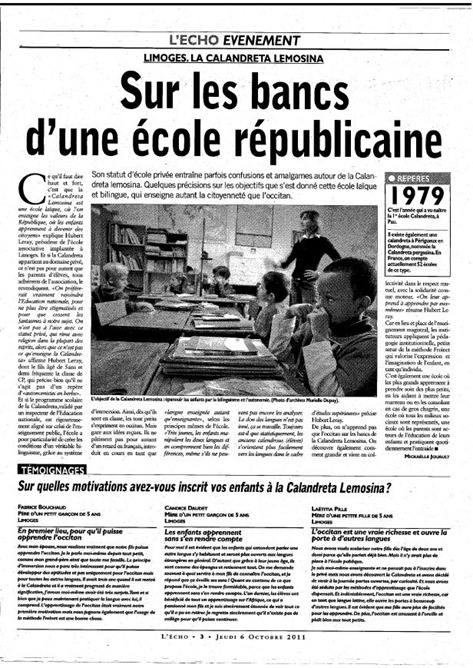 Calabndreta Lemosina L'Écho Lemòtges 021011