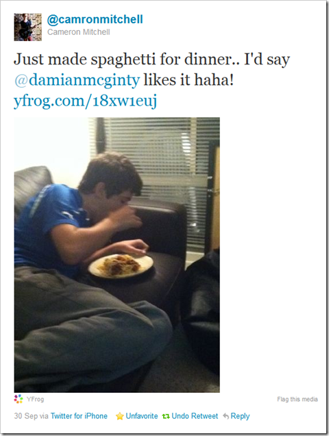 Twitter - @camronmitchell- Just made spaghetti for di ...
