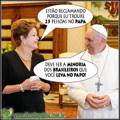 Presidente Dilma leva 25 pessoas no Papa e muito mais gente no papo