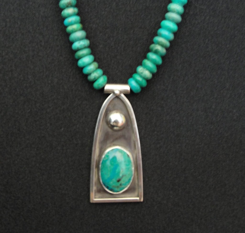 Chrysocolla Pendant w/Turquoise Necklace.....$165
