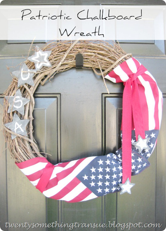 Patriotic Chalkboard Wreath at twentysomething