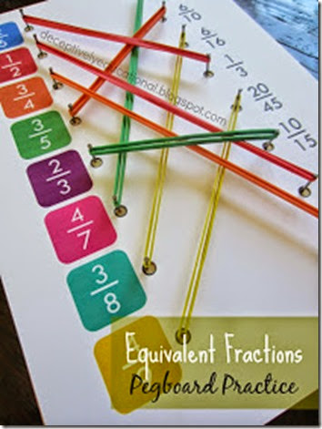 Equivalent Fractions Pegboard Practice - Take math worksheets to a whole new level by turning a fraction worksheet into a fun, handson pegboard activity! 3rd-6th grade