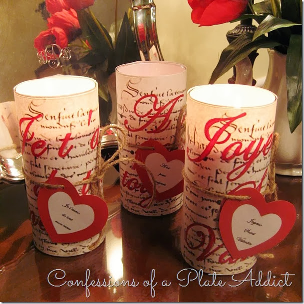 CONFESSIONS OF A PLATE ADDICT French Script Valentine Candles