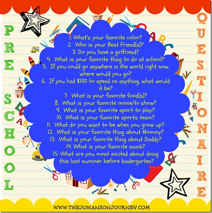 The Johanson Journey Preschool Questionaire