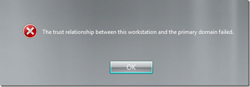 Fixed \u201cThe trust relationship between this workstation and the