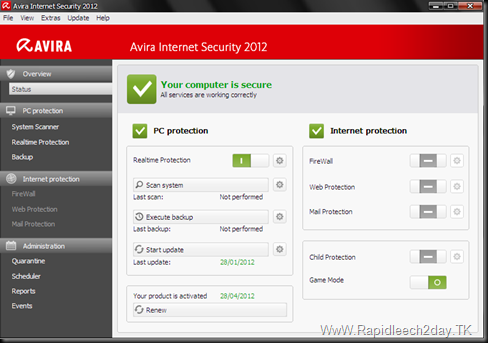 Download Avira Internet Security 2012 Latest Version with new key/license valid until 28-4-2012 + VDF Update