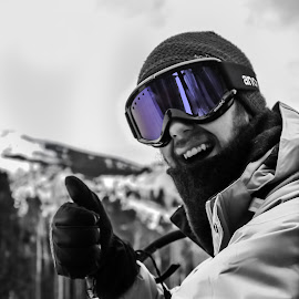 A day on the slopes by Andrew J Knepper - People Family ( contrast, up close, skiing, mountains, purple, selective color, black and white, colorado, portrait, Selfie, self shot, self portrait )