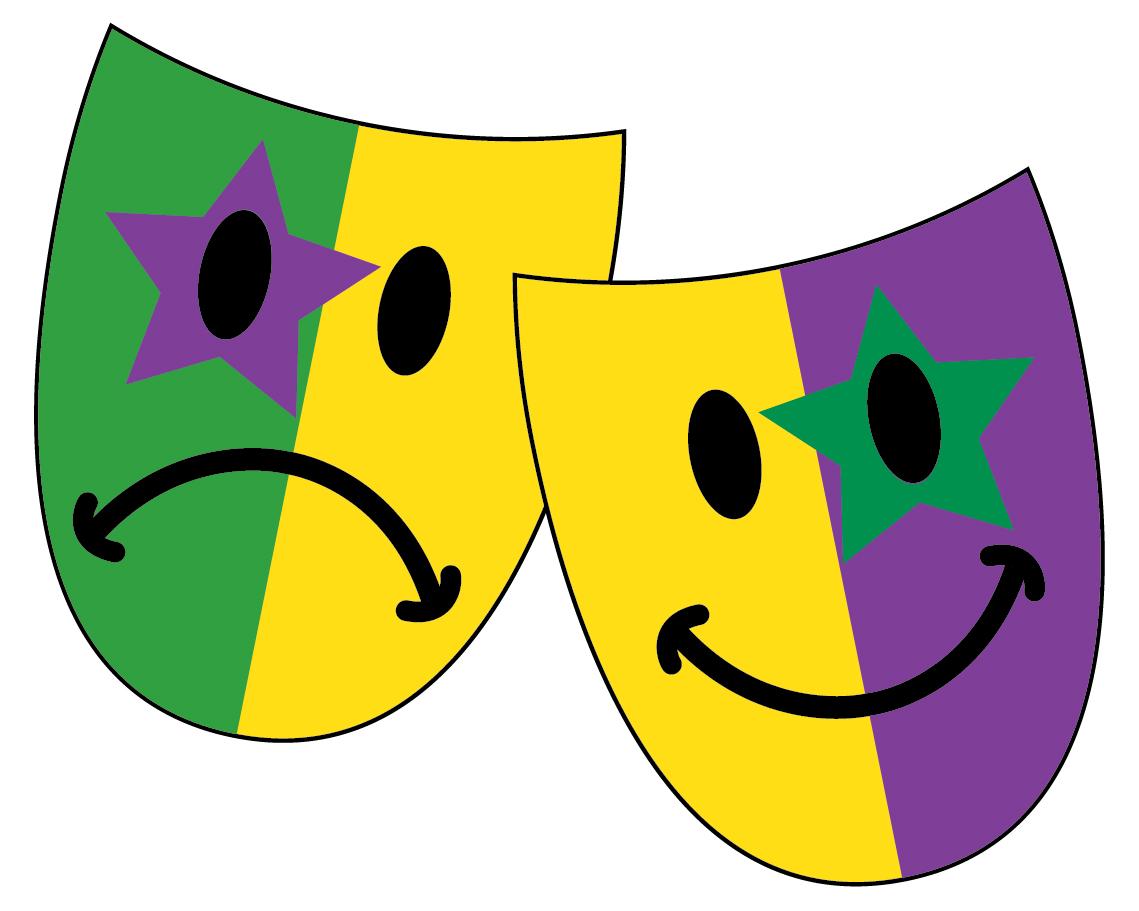 Mardi Gras Happy Sad Masks Clip Art - More information