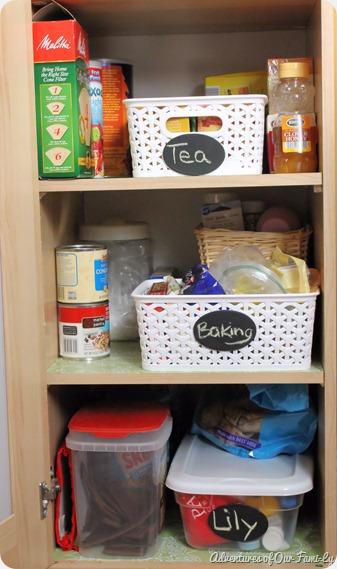 kitchen organization lower shelves