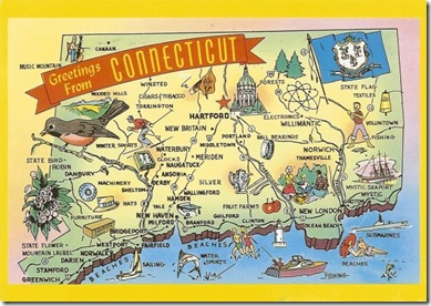 connecticut postcard map