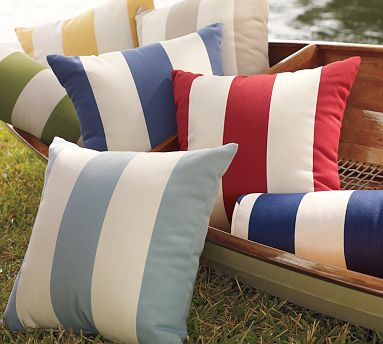 These striped pillows remind me of boat pillows.  (potterybarn.com)