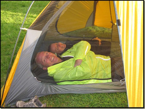 Mick and Gayle test a tent (and a windshirt)