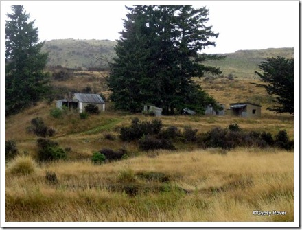 Part of an old gold prospecting site at Macraes, Central Otago.