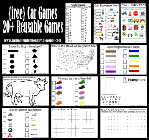 FREE Roadtrip Games to put in a family roadtrip fun folder to keep kids entertained. Includes 20 FREE Car Games that are reusable for hours and hours of kids activities in the car. (family vacation, road trips, disney vacation, car fun, airplane)