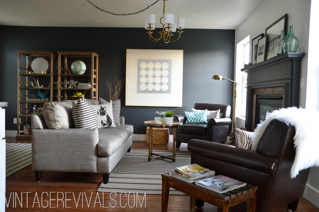 Black Wall Living Room Makeover @ Vintage Revivals