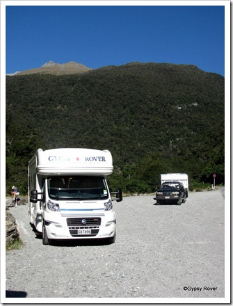 Gypsy Rover and Romany Rambler at the Gates of Haast bridge.