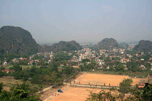 A panoramic of Hoa Lu itself, taken after a sweaty and painful ten minute run up a mountain.