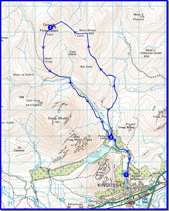 Wednesday's route - 19km, 670m ascent, 5 hours