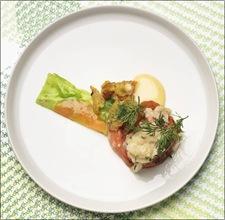 Klas Lindberg Årets Kock 2012 sallad på confiterad hummer, pressade vintergrönsaker och surdegskrutonger med saffran.