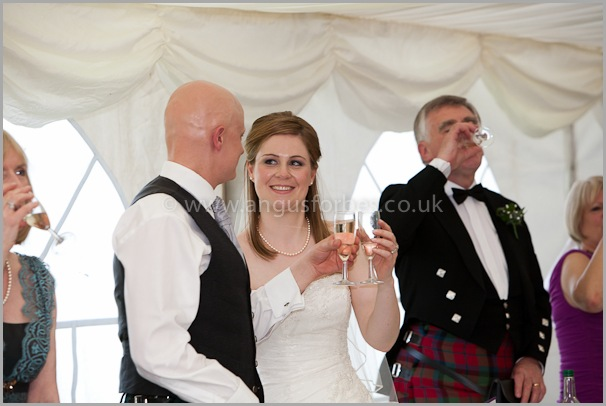 toast to the bride Wedding photographer at dollar academy, angus forbes