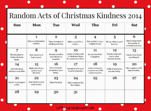 Random Acts of Kindness Printable Calendar