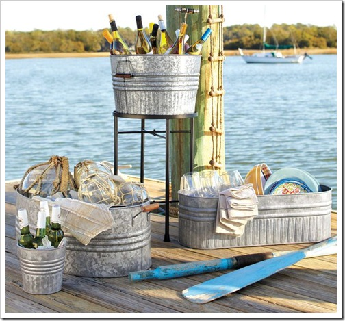 Buckets on dock