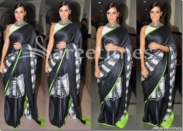 Neha_Dhupia_Black_Satya_Paul_Saree