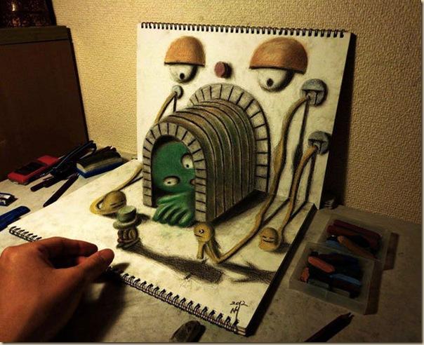 Incroyables dessins au crayon en 3D par Nagai Hideyuki-004
