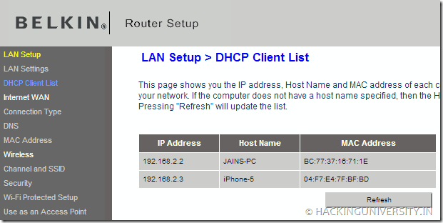 Check Connections to Wireless Network with Belkin Router