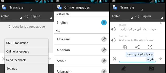 google offline translate