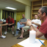 Tom Drexler, Executive Director, leads an Exercise on the Omaha men's retreat at the Creighton University Retreat Center, May 2010
