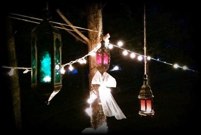 night lanterns lit