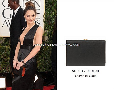 KAT MCPHEE Oroton's Society Clutch Black OROTON CLUTCH 70th ANNUAL GOLDEN GLOBE AWARDS RED CARPET leather bag,  Clutch, wallets accessories Spring Summer 2013 collection Singapore flagship boutiques ION ORCHARD MARINA BAY SANDS